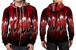 AC DC logo full red Hoodie Zipper Fullprint Men - $46.80