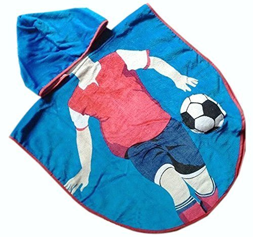 Lovely Cartoon Series Blue Football Boy Hooded Bath Towel (12060CM)