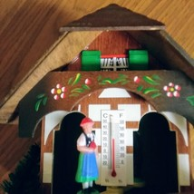 German Weather House with Black Forest Couple and Thermometer Hand Painted Flowe image 2