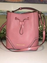 Michael Kors Nicole Small Bucket Shoulder Bag Crossbody Rose Pink Leather $328 - $98.99