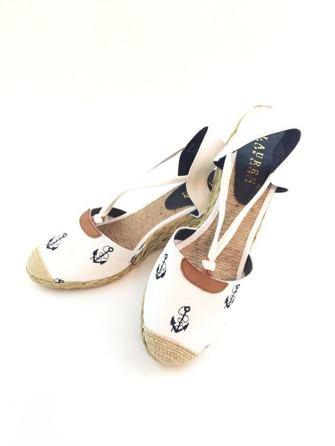 Lauren Ralph Lauren Cala, White and Navy, size 9B ($69)