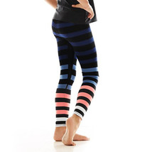 K-Deer Kids Blue/Coral/White Molly Stripe Athletic Leggings image 3