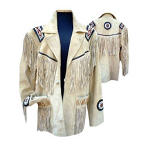 Men's Beige Cowboy/Western Beaded & Fringed  Suede Cow Leather Eagle Jac... - $157.41+
