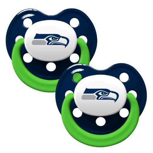 SEATTLE SEAHAWKS 2-PACK BABY INFANT ORTHODONTIC PACIFIER SET NFL FOOTBALL