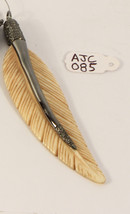 Feather Design Charm Pendant .925 Sterling Silver with Bone & Pave Diamonds - $125.00