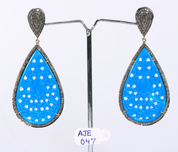 Earrings Oxidized 14KT Gold .925 Sterling Silver with carved Turquoise &... - $426.00