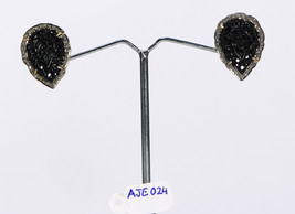 Earrings Studs 14ktGold .925SterlingSilver with Carved BlackOnyx & Pave ... - $177.00