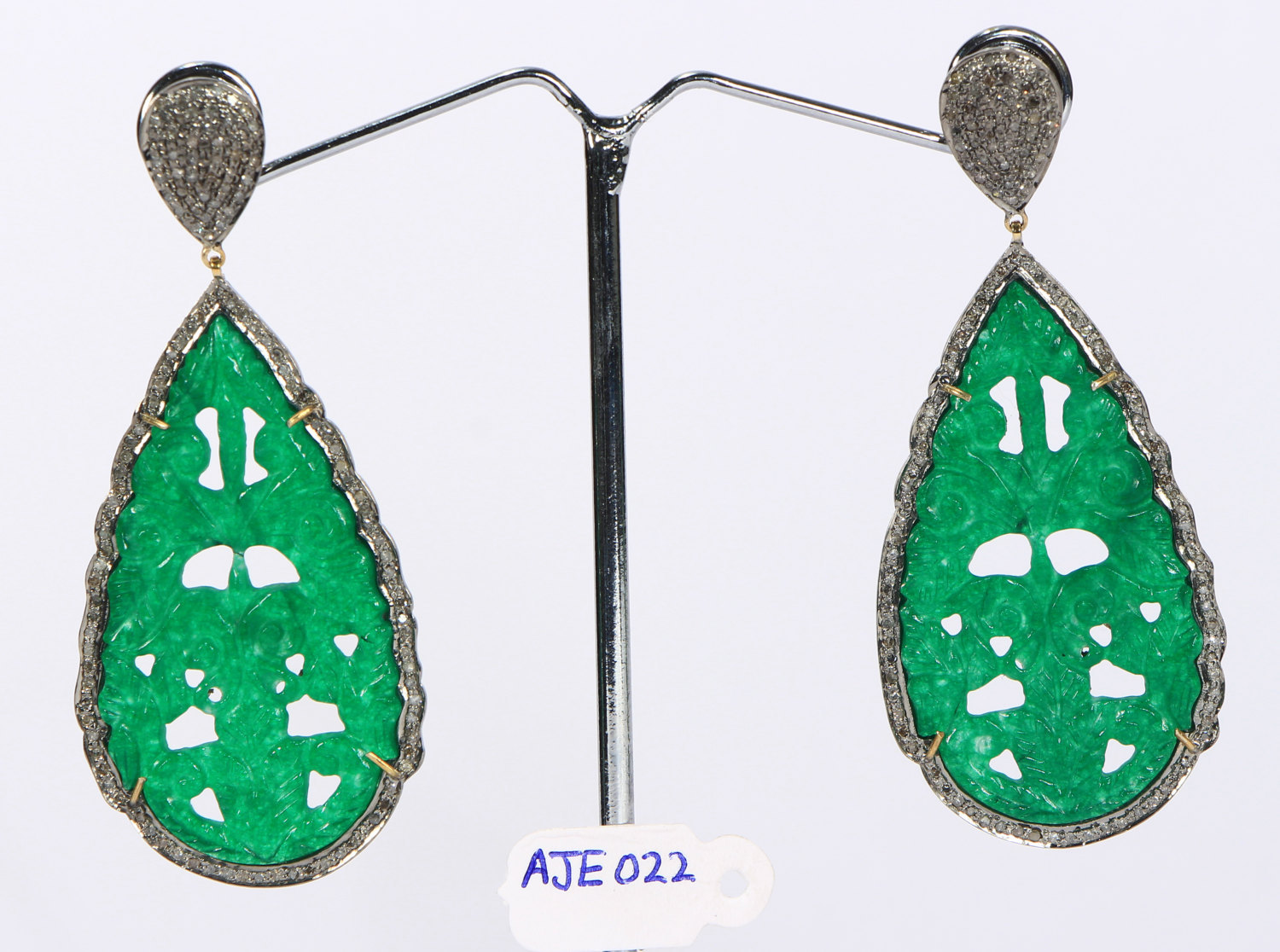 Earrings 14ktGold .925SterlingSilver with carved Green Aventurine & Pave Diamond