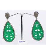 Earrings 14ktGold .925SterlingSilver with carved Green Aventurine & Pave... - £308.97 GBP
