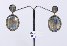 Earrings 14kt Gold .925 Sterling Silver with Natural Sapphire & Pave Dia... - $330.00