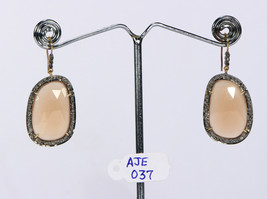 Earrings 14kt Gold .925 Sterling Silver with Orange Moonstone & Pave Dia... - $225.00