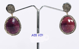 Natural Earrings 14ktGold .925Sterling Silver with Plum Sapphire & Pave ... - $354.00