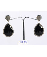 Drop Shape Earrings 14ktGold .925Sterling Silver with Black Onyx & Pave ... - $285.00