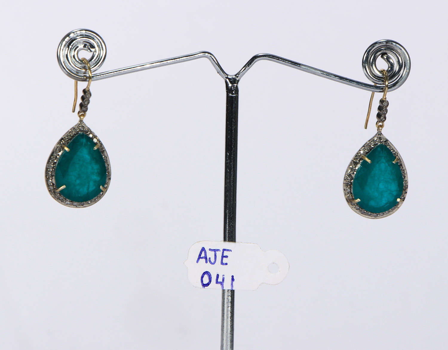 Dangling Earrings 14kt Gold .925 Sterling Silver with Emerald & Pave Diamonds