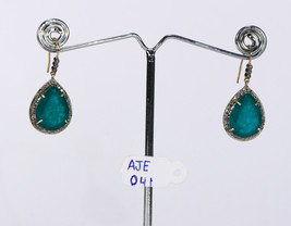 Dangling Earrings 14kt Gold .925 Sterling Silver with Emerald & Pave Dia... - $225.00