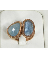 Hammered Double Ring .925 Sterling Silver Rose Gold Filled with Aquamarine - £98.61 GBP