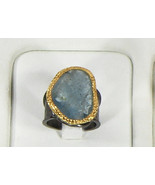 2-tone Hammered Resizable Ring .925 Sterling Silver with Natural Aquamarine - $123.00