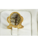 Organic Big Natural Ring .925 Sterling Silver Gold Filled with Labrodrite - $90.00