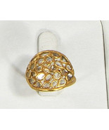 Organic Resizable Ring .925 Sterling Silver Gold Filled with Diamond Slices - $150.00
