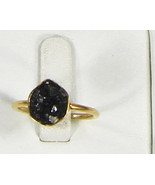 Organic Hammered Resizable Ring .925SterlingSilver GoldFilled with Black... - $84.00