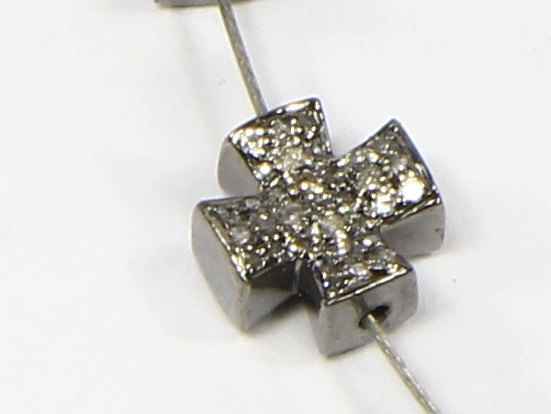Cross Shape Doublesided Bead Finding 8mm .925 Sterling Silver with Pave Diamonds