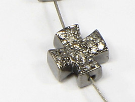 Cross Shape Doublesided Bead Finding 8mm .925 Sterling Silver with Pave ... - $40.00