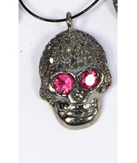 Skull Charm Finding Oxidized .925 Sterling Silver with Pave Diamonds & Ruby - $40.00