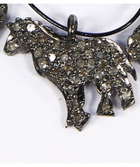 Horse Shape Charm Finding Oxidized .925 Sterling Silver with Pave Diamonds - $40.00