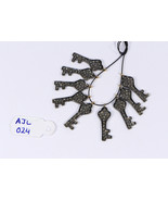 Key Charm Finding Oxidized 20X8mm .925 Sterling Silver with Pave Diamonds - $30.00