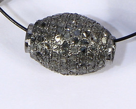 Tumble Ball Bead Finding 12X9mm Oxidized .925 Sterling Silver with Pave ... - $65.00