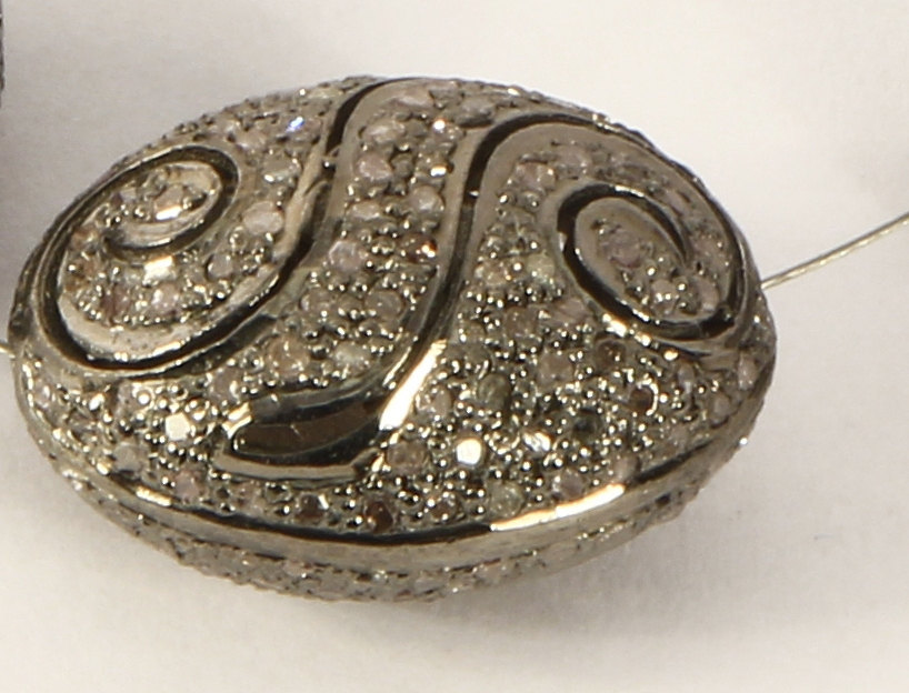 Egg shape Spiral Bead Finding 18X14mm .925 Sterling Silver with Pave Diamonds