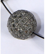 Round Ball 10mm Bead Finding .925 Sterling Silver with Pave Diamonds - $65.00
