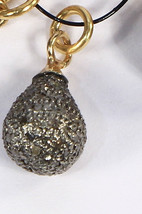 Drop Ball 20X10mm Bead Finding Oxidized .925 Sterling Silver with Pave D... - $99.00