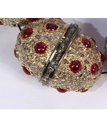 Fancy Bead Finding Oxidized Rose Color with Ruby and Pave Diamonds - $350.00