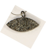 Evil Eye Shape Charm Finding 10X18mm  .925 Sterling Silver with Pave Dia... - $40.00