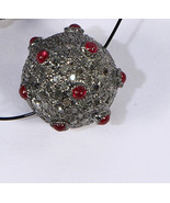 Round 14mm Bead Finding Oxidized .925 Sterling Silver with Ruby & Pave D... - $210.00