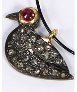 Bird Shape Charm Finding Oxidized .925 Sterling Silver with Pave Diamond... - $40.00