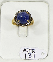 Ring .925 Sterling Silver Resizable with Tanzanite & Pave Diamonds - $174.00