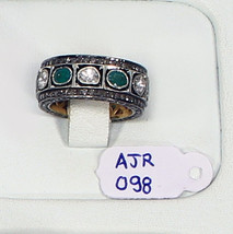 Handmade Eternity Band Ring .925 Sterling Silver with Emerald & Rosecut ... - $384.00