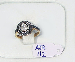 Antique Style Ring .925 Sterling Silver Resizable with Rosecut & Pave Di... - $150.00