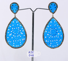 Earrings with 14ktGold .925Sterling Silver with Carved Turquoise & Pave ... - $471.60
