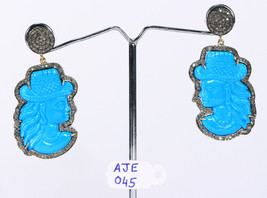 Lady Earrings 14ktGold .925SterlingSilver with Carved Turquoise & Pave ... - $354.00