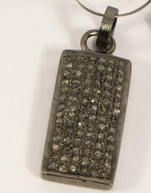 Rectangle Bead Finding Pendant Oxidized .925 Sterling Silver with Pave D... - $95.00
