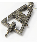 Double sided Clasp Lock Finding 32X17mm .925 Sterling Silver with Pave D... - $60.00