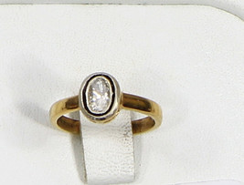 Simple Resizable Ring .925 Sterling Silver Gold Plated with Rosecut Diamond - $105.00