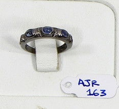 Simple Resizable Ring Band .925 Sterling Silver with Sapphire & Pave Dia... - $84.00
