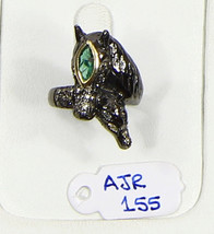 Ring Horse Design Resizable .925 Sterling Silver with Emerald & Pave Dia... - $144.00