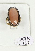 Ring 14ktGold .925SterlingSilver Resizable with Orange Moonstone & Pave ... - $174.00