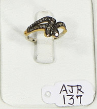 Ring Snake Design Resizable 14kt Gold .925 Sterling Silver with Pave Dia... - $126.00