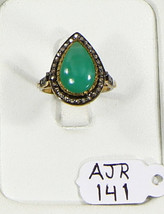 Ring Drop shape 14kt Gold .925 Sterling Silver with Chrysoprase & Pave D... - $144.00